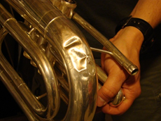 Brass Instrument Dent Removal - Before - KBI Music Shoppe - Fredericksburg, Virginia